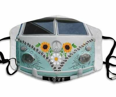 Hippie Van Sunflower handmade facemask