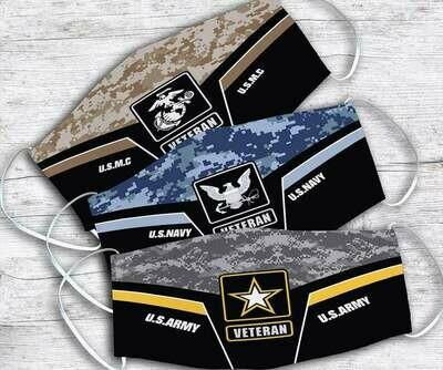 U.S.M.C U.S.Navy U.S.Army Veteran Handmade Facemask