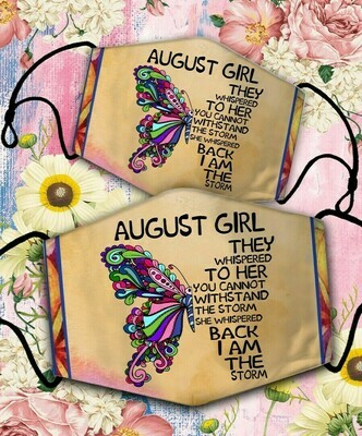 Butterfly August Girl Face Cover