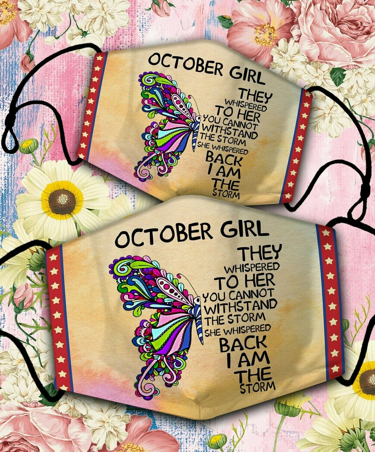 Butterfly October Girl Face Cover