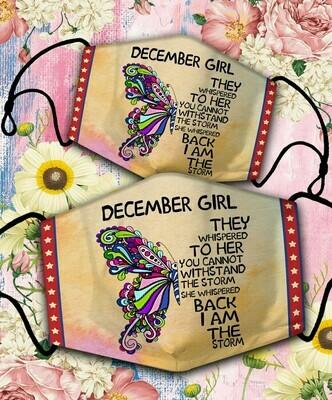 Butterfly December Girl Face Cover