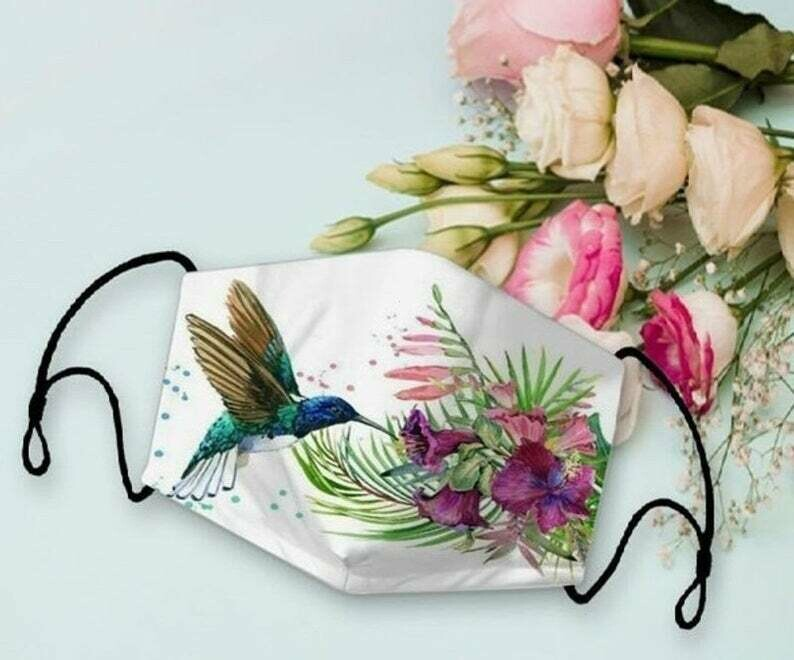 Hummingbird Animal Flower Butterfly SUmmer Holiday 3 Layer Face Mask