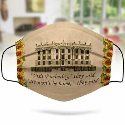 Visit Pemberley Face Mask, Handmade Face Mask, 3D Face Mask, Cotton Face Mask
