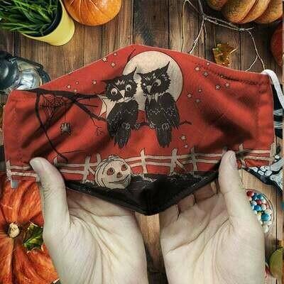 Owls Halloween Mask, Pumpkin Halloween Mask Gift, Halloween Mask Gift, Horror Halloween Face Mask