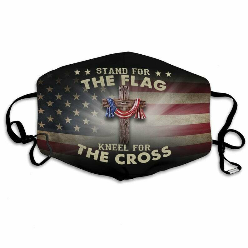 Stand For The Flag Kneel For The Cross Face Mask