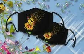 Hummingbird Butterfly Flower SUmmer Holiday Hippie Peace 3 Layer Face Mask