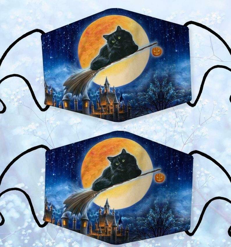 Black Cat FLy Witch Halloween Pumpkin Fabric Face Mask,Washable and Reusable Face Mask