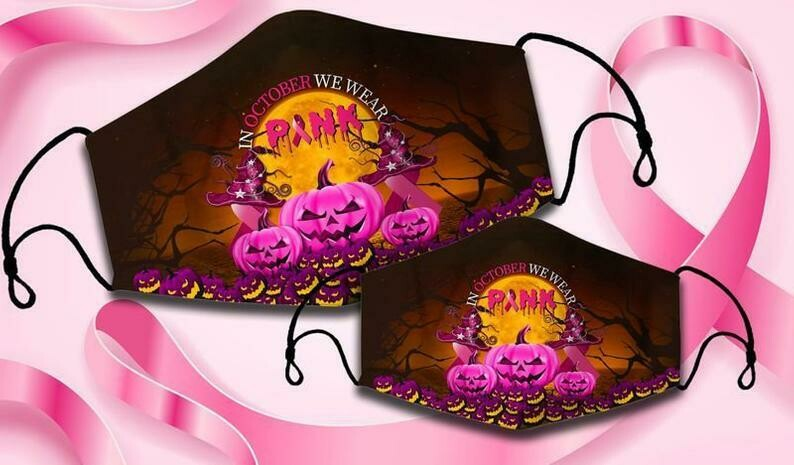 In October We Wear Pink Pumpkin Witch Halloween Breast Cancer Awareness Face Mask