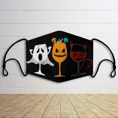 face mask three glass wine halloween, face mask themes halloween, fac mask three glass, three glass wine mask
