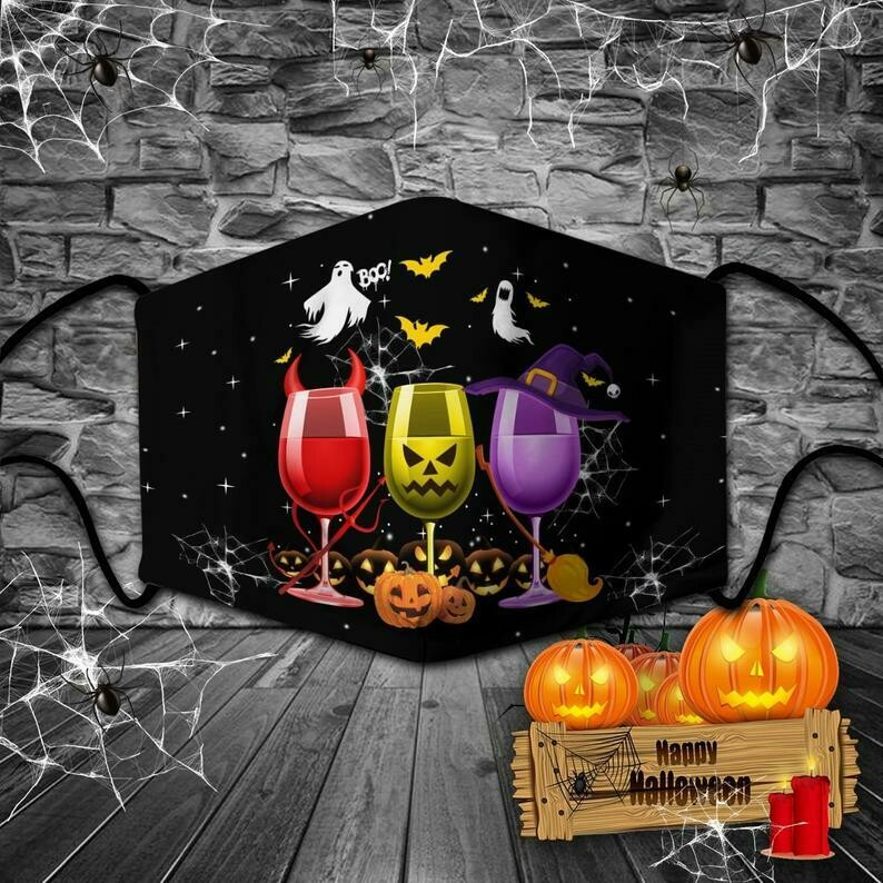 face mask three glass wine halloween, halloween theme masks, THREE GLASS WINE, mask three glass mask