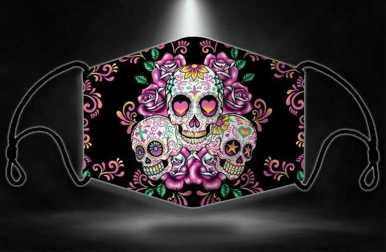 Sugar Skull Flower Mexican Halloween Flower Washable and Reusable Face Mask