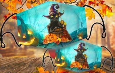face mask cat halloween, cat halloween, pumpkins cat halloween, halloween theme masks, face mask cat and pumpkins, cat and pumpkin black face mask
