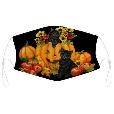 Fun Halloween 2020 Pumpkin And Cats Scene Cloth Face Mask