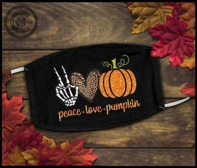 Peace Love Pumpkins Mask - Pumpkin Halloween mask - Fall Mask - Halloween Peace Love Pumpkin Fall