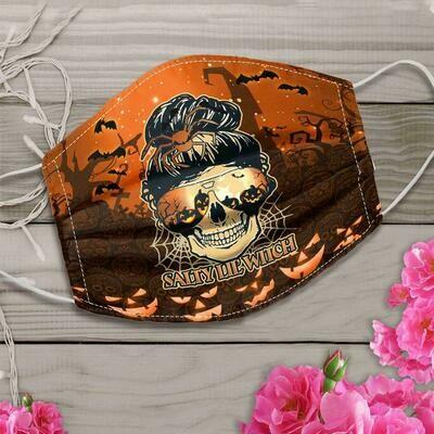Skull Salty Lil' Witch Halloween Mask , Skull Face Mask , Halloween Skull Mask