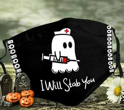 Nurse, I Love Halloween Face Mask, Fall Facemask, Adjustable Ear Loop, Washable Reusable Mask
