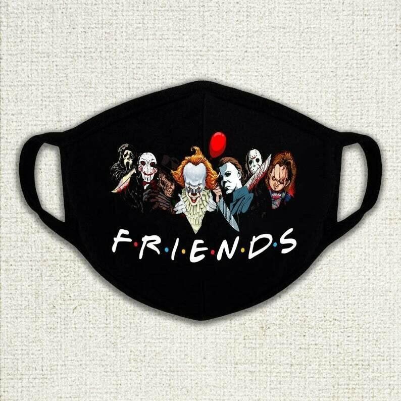 Halloween Mask, Horror Friends Mask, Horror Mask, Spooky Mask, Men Women Free Size Black Mask