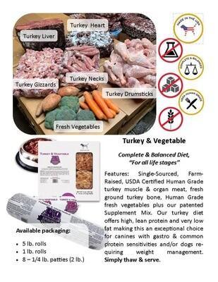 Turkey & Vegetable *5lb Roll