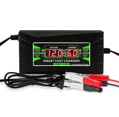 12V Smart fast battery charger, 150/250 AC input