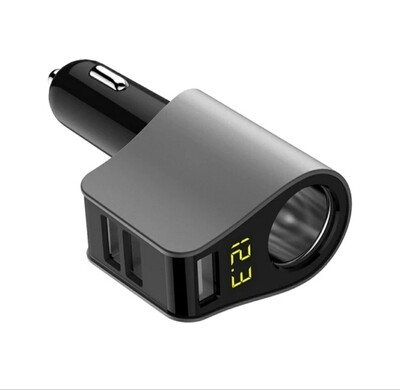 Four in one USB car charger with voltmeter, 80W 3.1A 5V, 12/24V input
