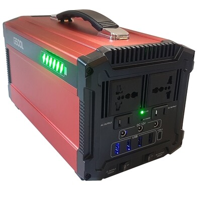 500W 220V Portable Power Station, built in LIFEPO4 battery, pure sinewave inverter and solar input charge controller