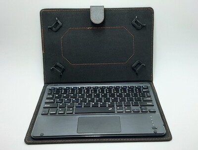 Rechargeable 10 inch Universal wireless keyboard with TouchPad, leather case included.