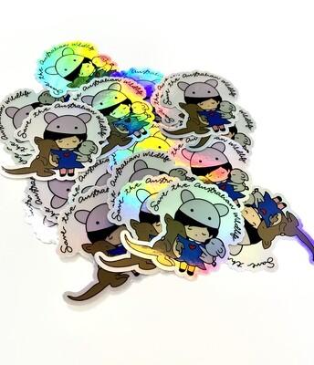mika+michi Holographic Save the Australian Wildlife Sticker