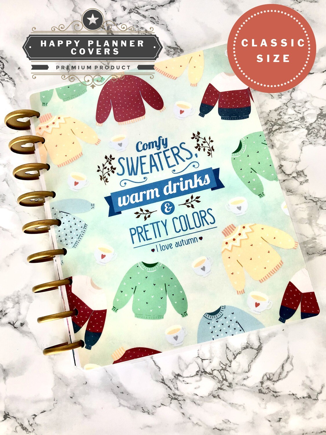 Cozy Sweater Happy Planner Cover | Cute Autumn Coffee Cup Classic Size