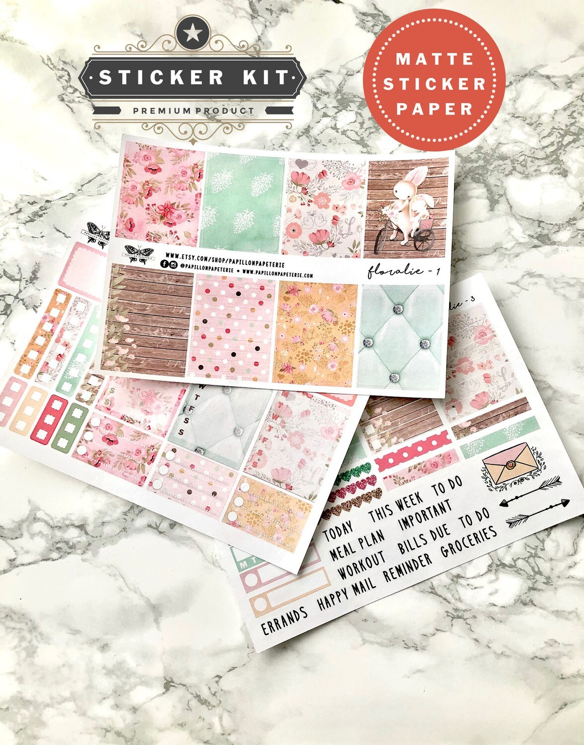 Floralie Spring Kit | Functional Spring Rabbit Pastel Planner stickers Vertical Happy Planner A5