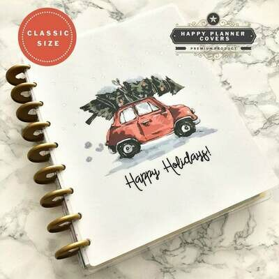 Happy Holidays Cover with Silver Foil | Cute Holiday Functional Christmas Foil Silver Happy Planner