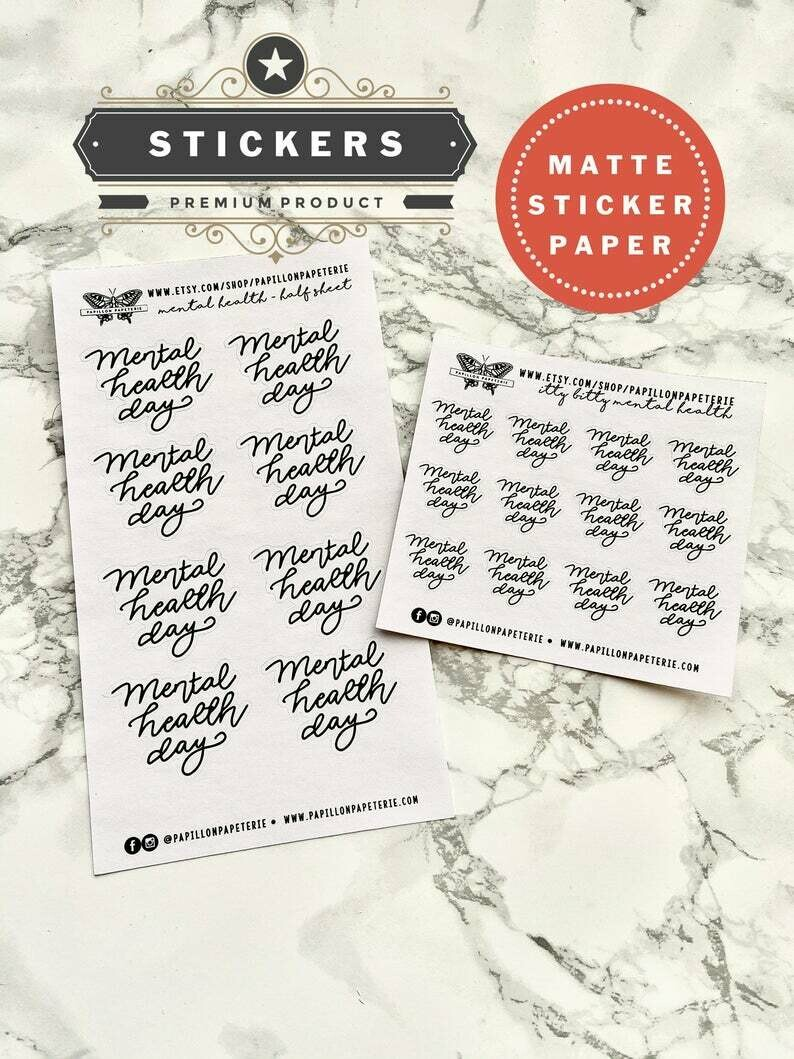 Mental Health Day Planner Stickers | Functional Planner Matte Happy Planner A5 Recollections Mental Health