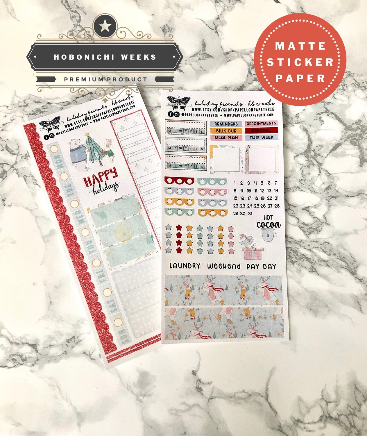 Holiday Friends Weekly Sticker Kit | Planner stickers for Hobonichi Weeks