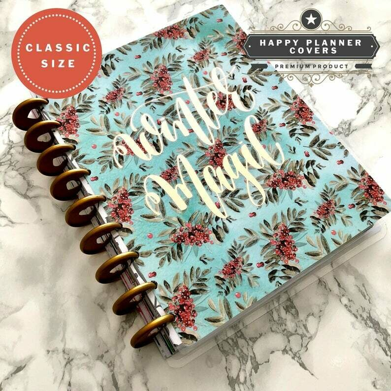 Winter Magic Rose Gold Happy Planner Cover | Cute Holiday Functional Christmas Holiday Winter