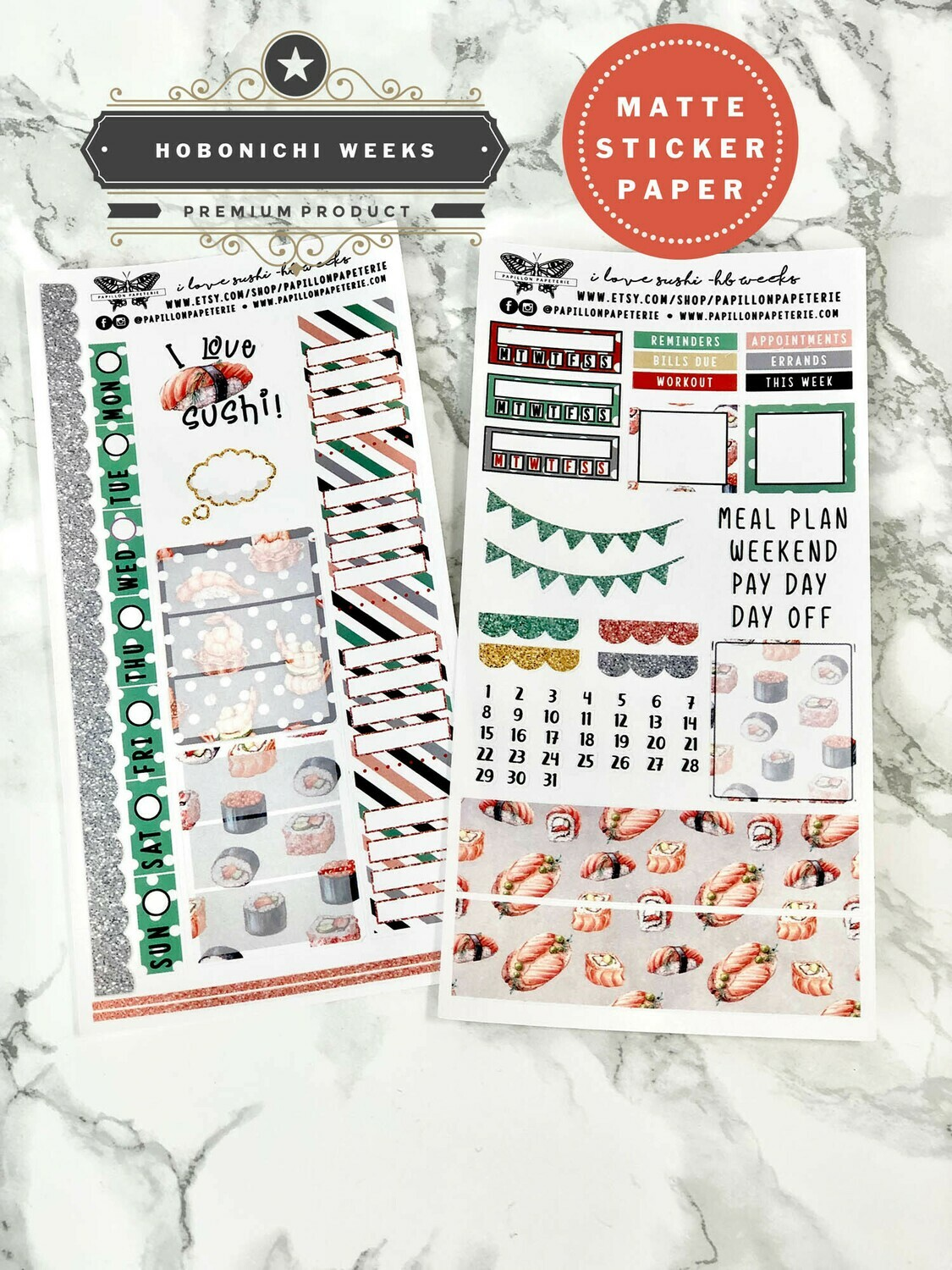 I Love Sushi Weekly Sticker Kit | Planner stickers for Hobonichi Weeks