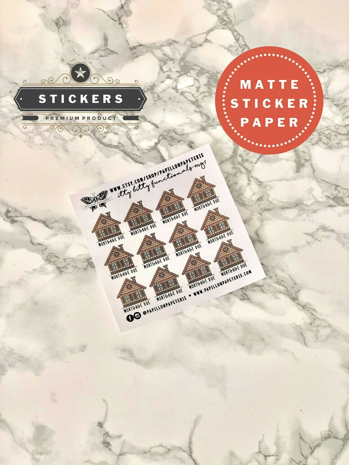 Itty Bitty Mortgage Due Stickers | Functional Planner Cute House Bills Erin Condren Happy Planner A5 Recollections