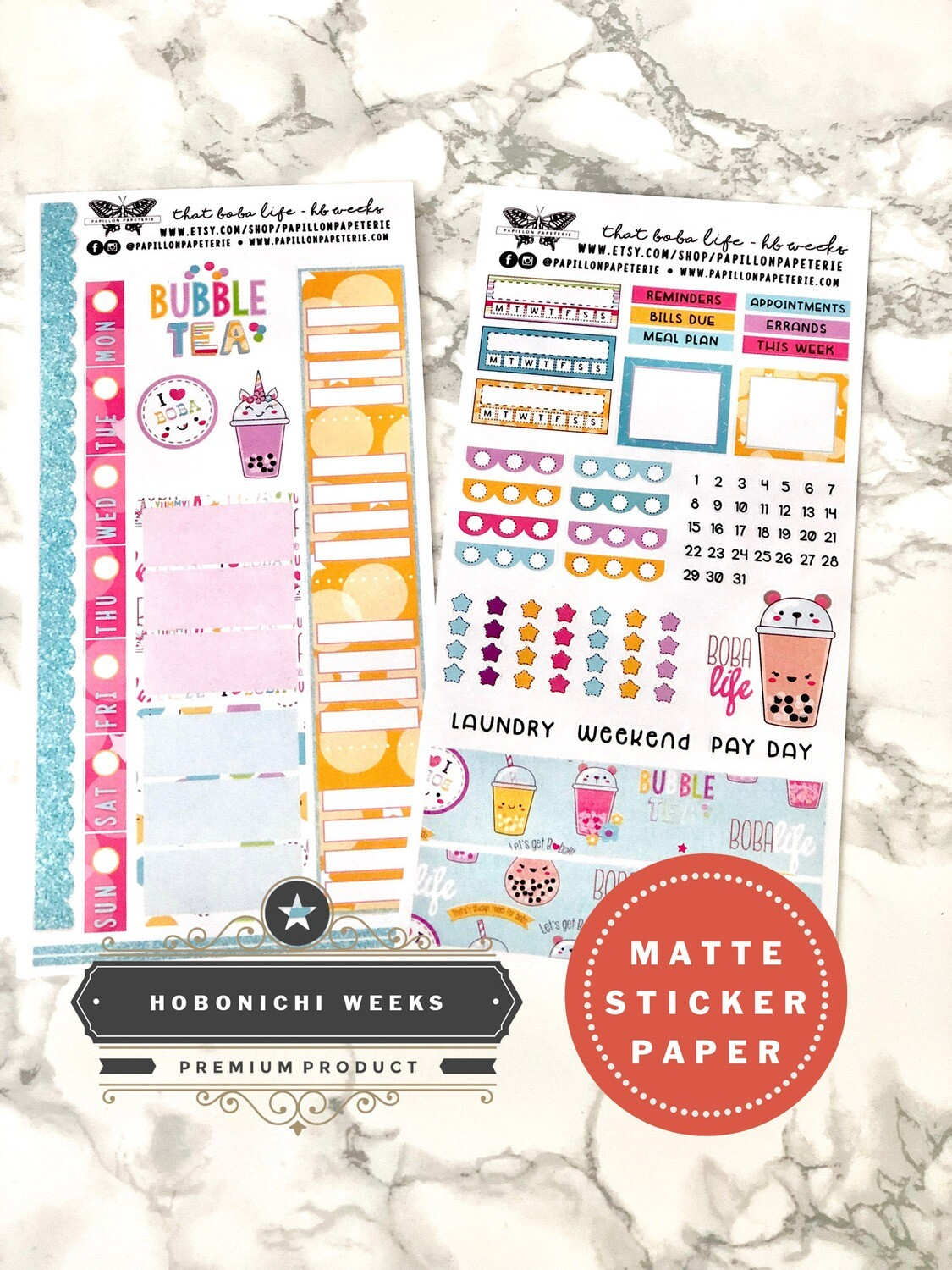 That Boba Life Weekly Sticker Kit   Planner stickers for Hobonichi Weeks