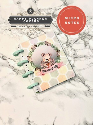 The Sweet Life Happy Planner Micro Notes Cover | Cute Bear Watercolour Script