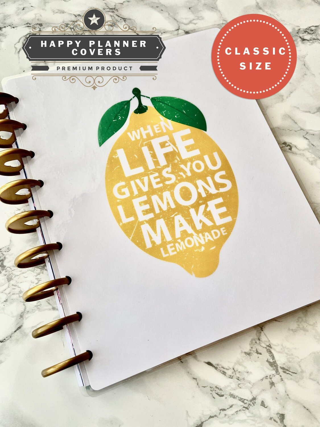 When Life Gives You Lemons Make Lemonade Happy Planner Classic Size Cover | Cute Summer White Modern Journal