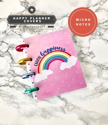 Choose Happiness Happy Planner Micro Notes Cover | Cute Rainbow Ombre Functional Script Pastel