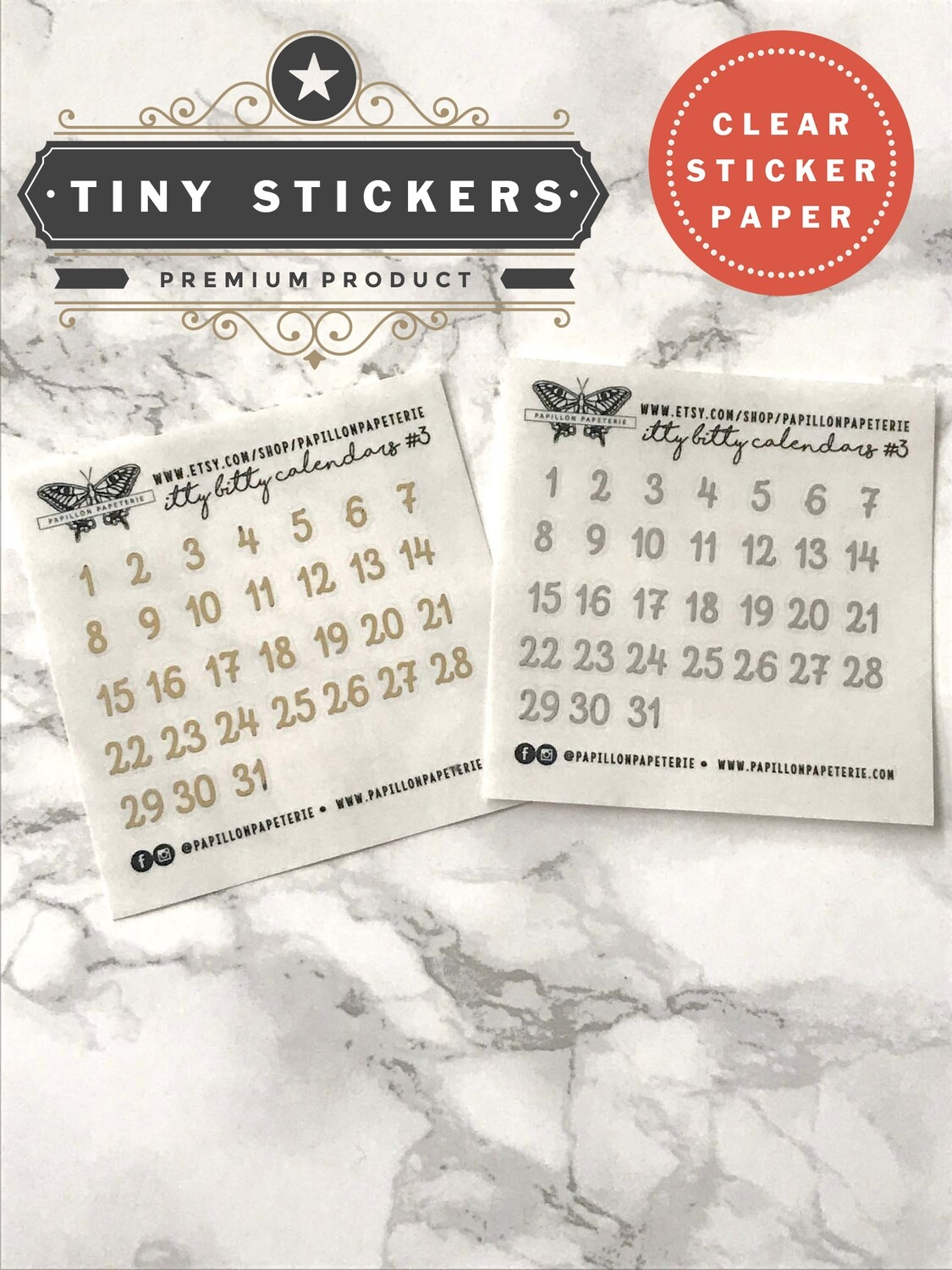 Itty Bitty Clear Alpha Calendar Foil Set #3   Functional Planner Stickers Erin Condren Happy Planner A5 Recollections