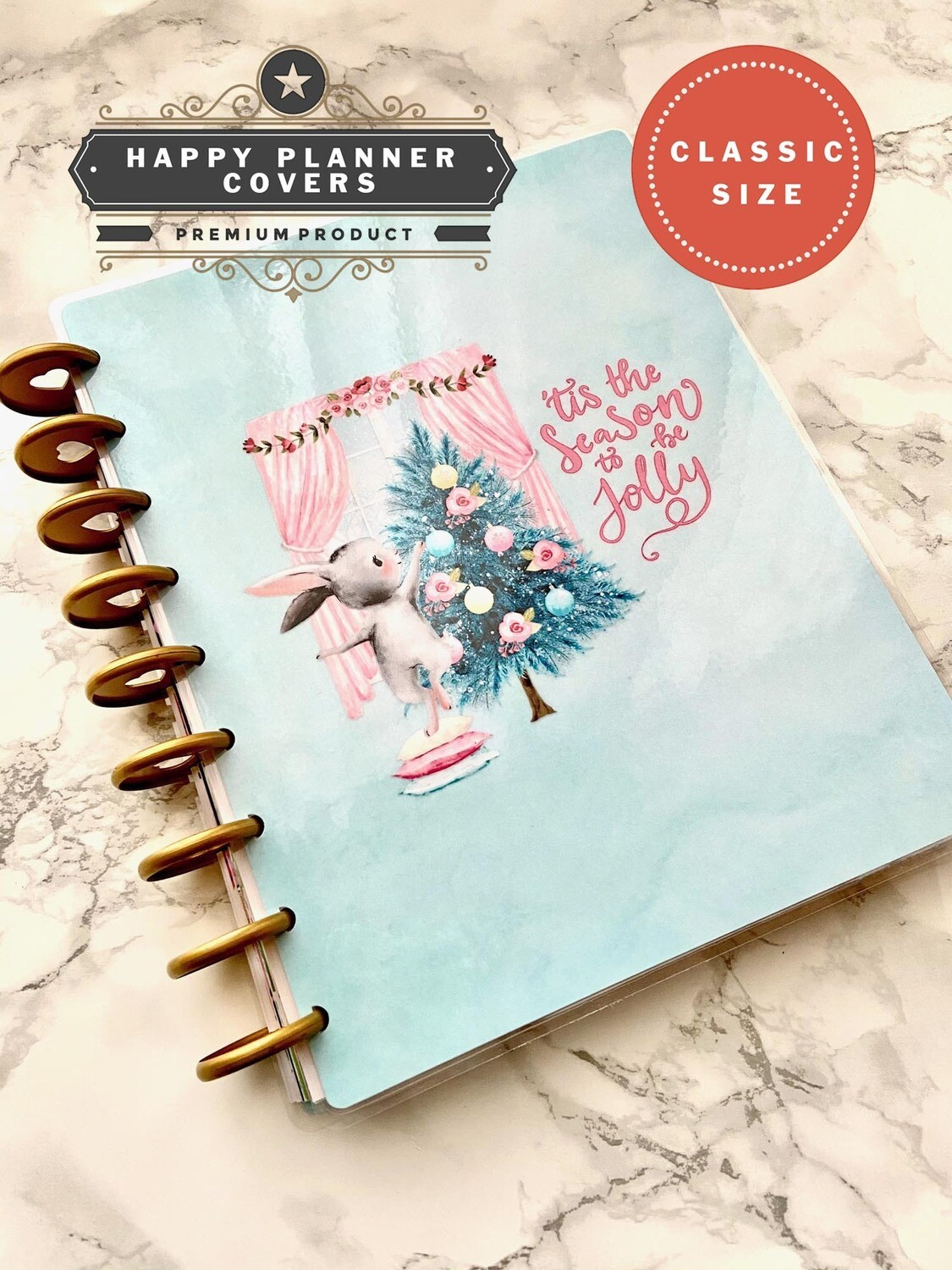 'Tis the Season | Cute Holiday Rabbit Custom Christmas Pink Blue Happy Planner Classic