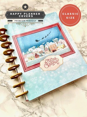 Christmas Village Cover | Cute Holiday Santa Custom Christmas Snowflake Happy Planner Classic