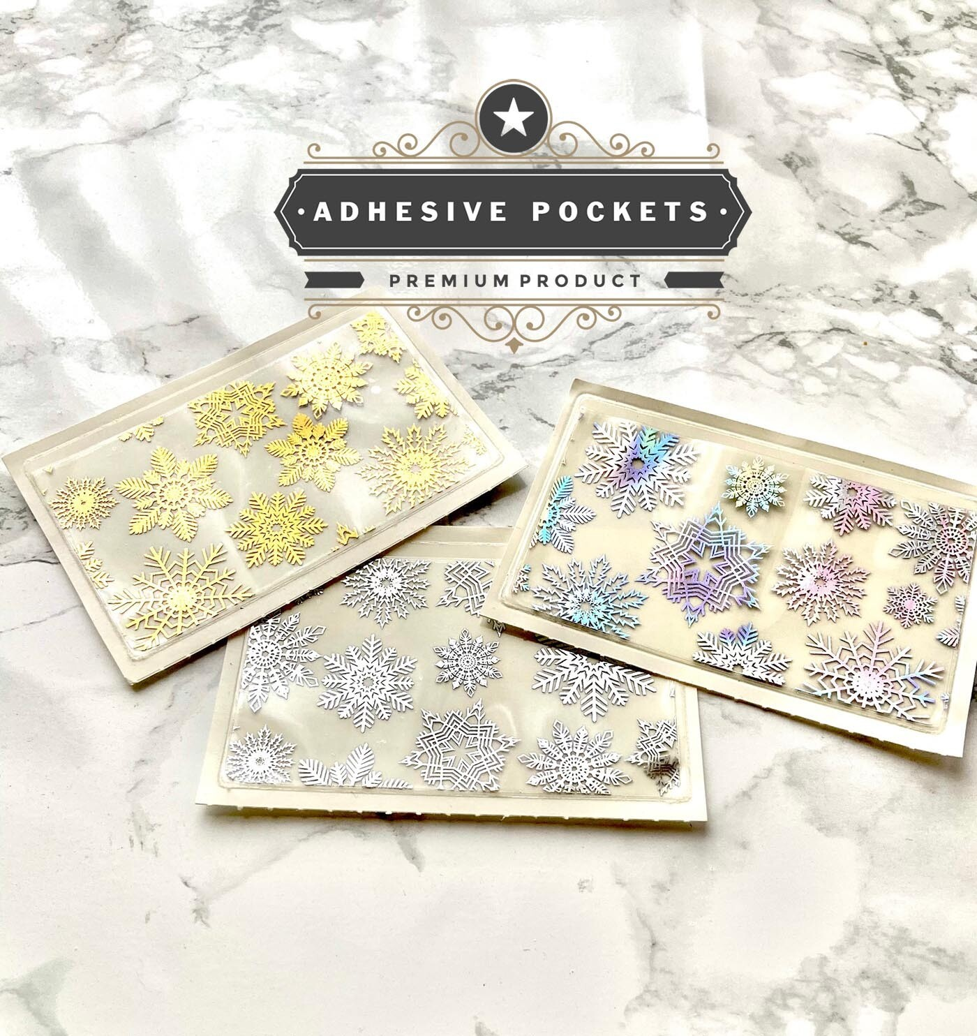 Foiled Snowflakes Adhesive Planner Sticker Pockets| Gold Silver Holographic Functional Bujo TN Happy Planner A5
