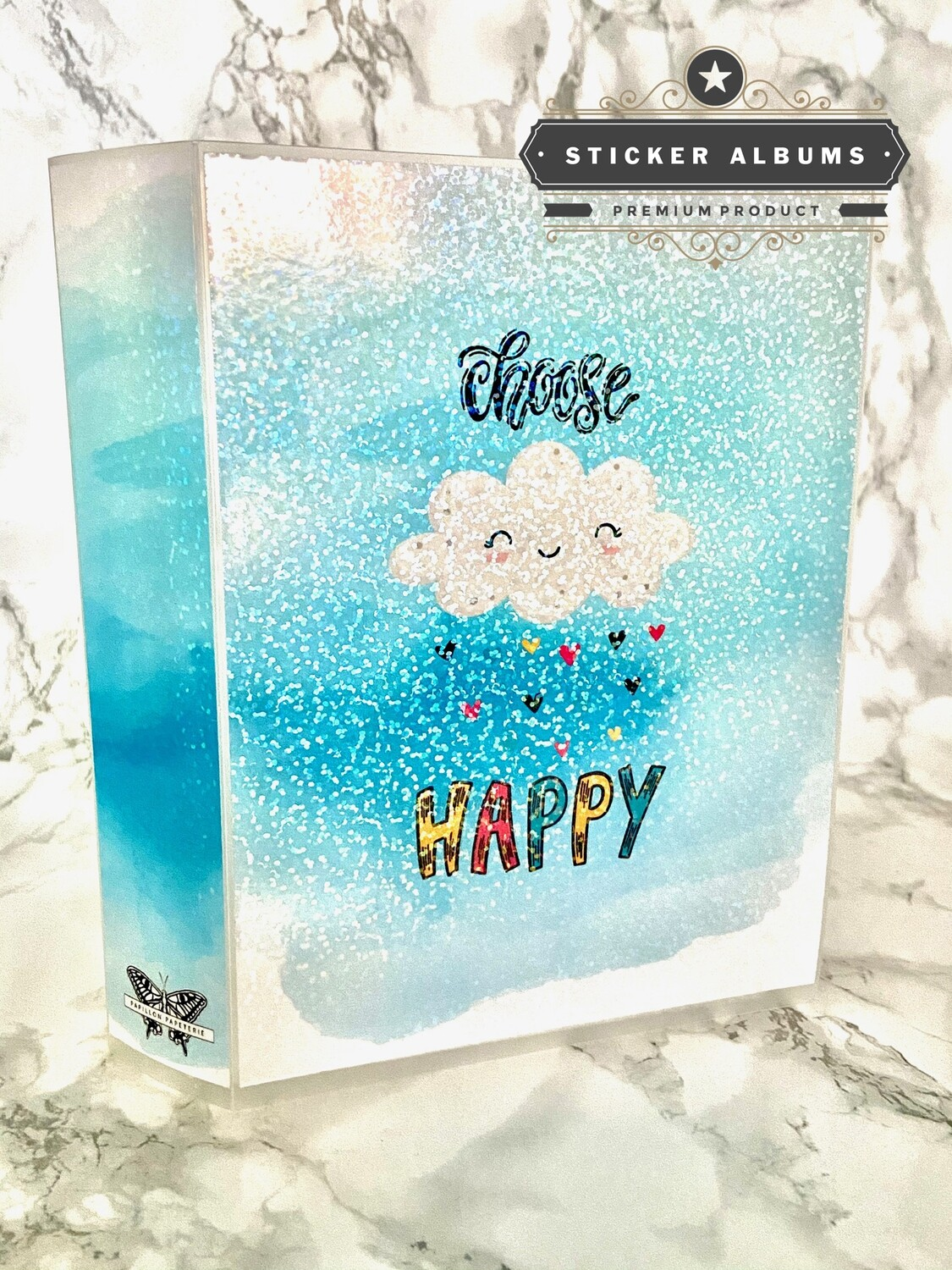 Choose Happy Sticker Album | Functional Raincloud Hearts Holographic Watercolour Kawaii Cute 5x7 Laminate