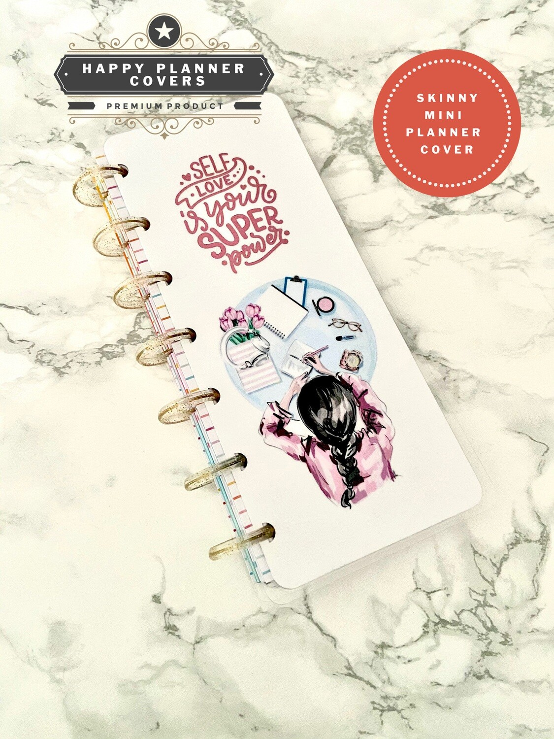 Self Love is Your Superpower Happy Planner Skinny Mini Size Cover | Girl Modern Pink Holographic Foil Fashion Journal
