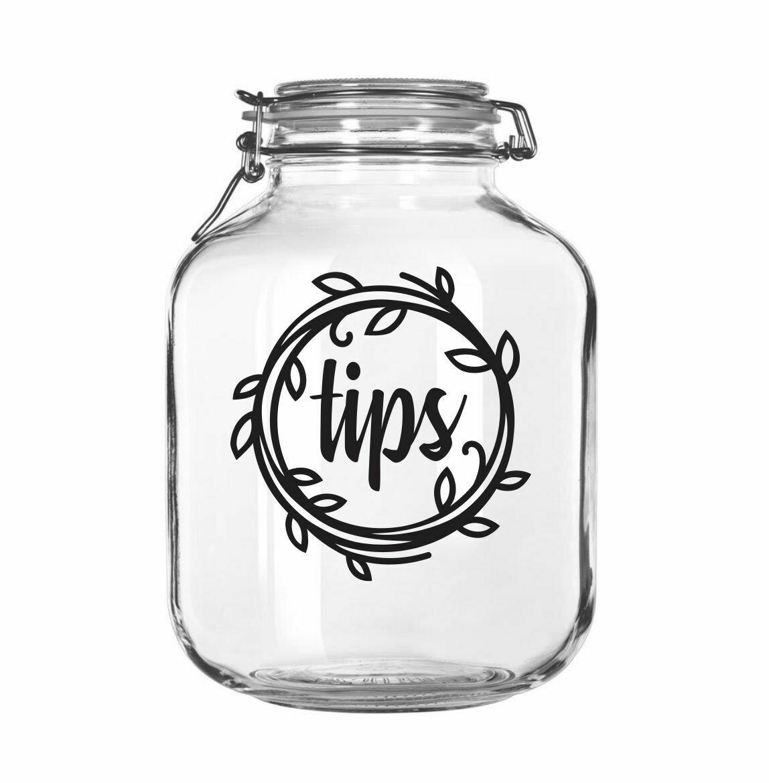 Tip Jar Decal, wreath design