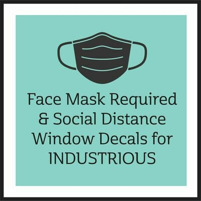 Face Mask Required & Social Distance Decal / Industrious Personnel ONLY