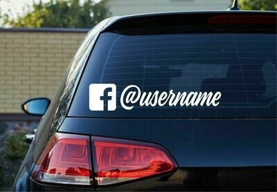 Facebook Icon with User Name Decal - script style
