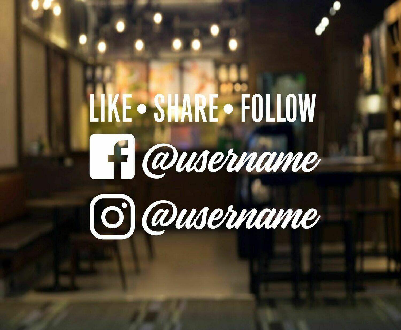 Social Media Like Share Follow Decal - two usernames