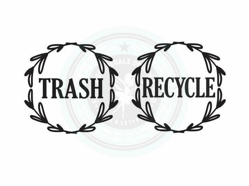 Trash and Recycle Decal Set of 2 - leaf wreath design